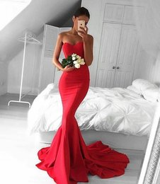 Wholesale Gray Fish Tail Evening Dress - Mermaid Red Evening Dresses 2017 Sweetheart Long Evening Gowns Elegant Fashion Fish Tail Vestido Longo Cheap Party Dress