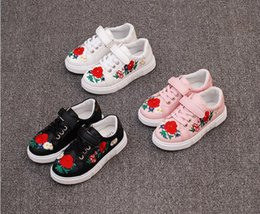 Wholesale Flower Shoes For Babies - fashion tops 2017 new arrival children shoes pu leather casual spring autumn lace up embroidery flower red girls kids shoes for girl baby