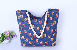 Wholesale Owl Bags Crochet - Cute Owl Large Canvas Shopping Tote Bag Big Shoulder Bags for Woman Bag Summer Beach Handbag Women Messenger Fashion