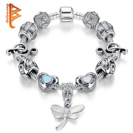 Wholesale Glass Dragonfly Pendant - BELAWANG Fashion Silver Plated Heart Murano Glass&Crystal European Charm Beads Dragonfly Pendant Fits Charm Bracelets Style Bracelets