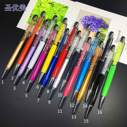Wholesale Phone Pens - Luxury Diamond Crystal 2 in 1 Touch Screen Rhinestones Capacitive Stylus Ball Pen For Mobile Phone PC Tablet iPad