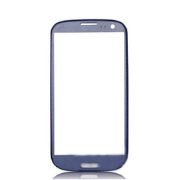 Wholesale I747 Digitizer Blue - For Galaxy S3 iii i9305 I9300 I535 I747 L710 T999 glass lens front glass Pebble Blue-not LCD or digitizer 10pcs lot