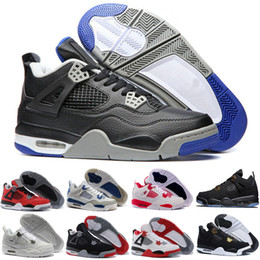 Wholesale Cheap Stretched Canvases - 2017 Cheap Sale Air Retro 4 IV Basketball Shoes Sports Sneakers Men Retros 4s Zapatillas Authentic BLACK MOTORSPORT GAME ROYAL BLUE shoes