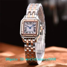 Wholesale fix rose - Luxury Brand Rose Gold & Silver Square Small Quartz Ladies Watch Black Roman Numerals 24mm Business Womens Watches Fixed Steel Bracelet