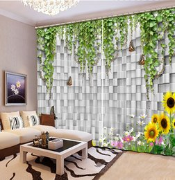 Cheap Sunflower Kitchen Decorations Photo Any Size Curtain For Living Room Sunflower Brick Green Fashion