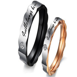 Wholesale Unique Promise Rings - DHL Stainless Steel Couple Rings for Wedding Mens Ring Unique Design His And Her Promise Couple Ring Valentine's Day Gift Romantic Jewelry