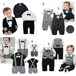 lazos de la boda Rebajas Kids Baby Suits Set 4 Estilos Formal Jumpsuits Traje y corbata Wedding Ring Bearer smoking chaqueta para niños MD097