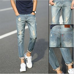 Wholesale Korean Slim Skinny Models - Wholesale-2016 New Men's Jeans Fashion Holes Jeans Men Korean Tidal Feet Pants Flanging Men's Trousers Slim Models Plus Size 27-38