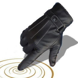 Wholesale Fashion Driving Gloves - Wholesale- Mens Luxurious PU Leather Winter Super Driving Warm Gloves Cashmere tactical gloves Black