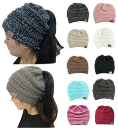 Wholesale Rugby Popular - Popular 10 Colors Women CC Ponytail Caps Winter Warm Hat Back Hole Pony Tail Knitted Beanie for Sports