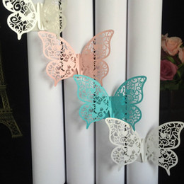 Wholesale Laser Cut Napkin - 40pcs Party Favors Wedding Napkin Holder Laser Cut Butterfly Napkin Ring Paper Napkin Ring For Wedding Decoration