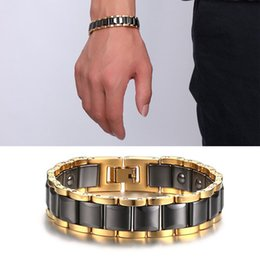 Wholesale Heavy Clay - Men's Big Heavy Health Energy Ceramic Bio Magnetic Bracelets Stainless Steel Health Bracelet A Great Birthday Gift B870S