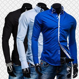 Wholesale Casual Dress Stores - Wholesale- Men's Fashion Luxury Slim Fit Long Sleeve Casual Dress Shirts Blouse Tops Tee H8Q78Q Store 50