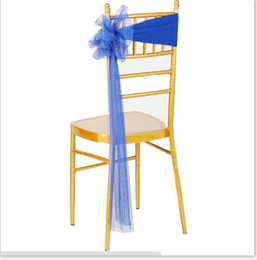 Wholesale Wedding Chair Sashes Royal Blue - new elastic chair sashes noeud chaises lycra mariage royal blue wedding chair sashes 2017