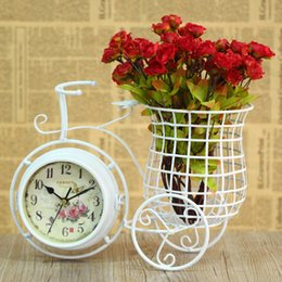 Wholesale Bicycle Side - Wholesale-European pastoral style white iron art bicycle mute desk clock with penholder double sided table clock home decoration