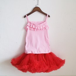 Wholesale Pettiskirt High Quality - high quality ruched camisole and red skirts summer pettiskirt outfit dress children tank set in selling