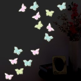 Wholesale Cartoon Blue Butterfly - Wholesale- 6pcs bag Christmas fashion Luminous butterfly sticker home decoration Window Wall Decorating plastic Sticker Decor Cartoon 2017