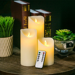 Wholesale Pillar Sets - 3pcs Moving Wick Dancing Flame Wax Pillar LED Candle Set with Remote Control Timer Dimmer Christmas Wedding Party Decor