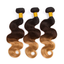 Wholesale Three Toned Brazilian - Ombre Brazilian Virgin Hair Body Wave Ombre Brazilian Hair Weave 3 Bundles Three Tone 8A Brazilian Ombre Human Hair Weft Extensions