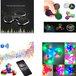 Wholesale Draw Lamp - Exclusive NEW Style Crystal transparent coloured drawing Hand Spinner flashing LED lamp Bluetooth speaker fidget spinner finger speaker