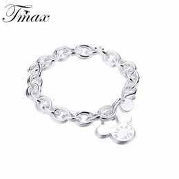 Wholesale Silver Rolo Bracelet Chain - Animal Design Mickey Charm Bracelets Silver Plated Cute Classic Trendy Style Jewelry Accessories for Women Rolo Chain HFNE0706