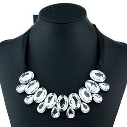 Wholesale Fashion Jewelry Celebrity - 2017 punk Choker Necklace statement Jewelry celebrities Fashion Big Oval Stones Velvet Cloth Clavicle Bohemian Necklaces for Women Designer