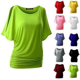 Wholesale Round Bats Shirts - Free Shipping 2017 New Cotton T-shirt Women Hot Crew Neck Tops Round Neck Bat Sleeve T Shirt Casual Shirt CL025