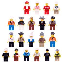 puzzle di orologio in legno Sconti 20pcs lot Bambini Building Blocks Mattoni Mini Cartoon Multi Ruoli Figure Giocattoli bambola Piccole particelle Bambini Puzzle Toy Model