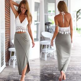 Wholesale Night Club Tops - Ladies 2 Pieces Set White Lace Top Dresses Ankle-Length Long Backless Bohemian Dress Women Summer Dresses Beach Wear