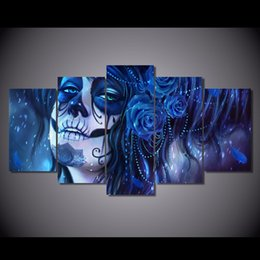 Wholesale Oil Painting 5pcs - 5Pcs Set Framed HD Printed Blue Day of the Dead Face Picture Wall Art Canvas Print Decor Poster Abstract Canvas Oil Painting