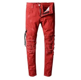 Wholesale jeans large hip hop - Large size 28~40 Famous Amir Justin Bieber ripped distressed Motorcycle Jeans US Designer Rock Punk Hip Hop Mens Pants