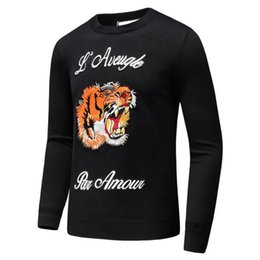 Wholesale Mens Long Sleeve Casual Shirts - Latest Tiger embroidery Winter Casual Sweater Brand Clothing Long Sleeve Mens Sweaters classic Shirt Pullover O-Neck Knitwear D20
