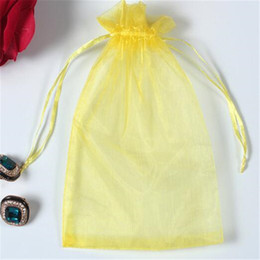 Wholesale Black Snacks - 7*9 cm organza jewelry pouch jewelry bags black gift Pure color drawstring bag Candy snack packs pouch DHL