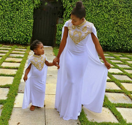 Wholesale Little Girls Capes - vestido de festa Mermaid White Prom Dresses With Long Cape Gold Beadings Mother Daughter Little Girls Party Gowns