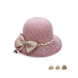 Wholesale Garden Shades - Free shipping Spring and summer hollow shade hat in the elderly lady sunscreen basin pearl bow hat WMB002