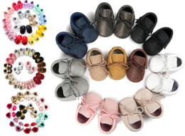 Wholesale New Baby First Walker Shoes - 150 colors New Baby First Walker Shoes moccs Baby moccasins soft sole moccasin leather Colorful Bow Tassel booties toddlers shoes