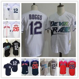 Wholesale Red Blue Ray - Embroipdered Yankees 1988 1995 Throwback #12 Wade Boggs Tampa Bay Rays White Home Gray Road Red Sox Black Mesh Navy Blue Baseball Jerseys