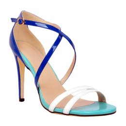 Wholesale Wholes Sales Dresses - Zandina Whole Sale Womens Fashion Handmade Roman Style Cross Buckle Straps Open-toe High Heel Sandals Blue XD057