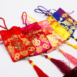 Wholesale Silk Chinese Drawstring Pouch - Silk fabric Drawstring Bag Candy Bag Chinese Lucky Jewelry bags Beaded Pouches Christmas Wedding Favors Packaging Gift Wrapping bag CB01