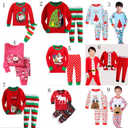 Wholesale Kids Santa Outfits - Baby Christmas pajamas outfits Kids Christmas deer Santa Claus Top+pants 2pcs sets children Xmas Clothing Sets 24 styles C2778