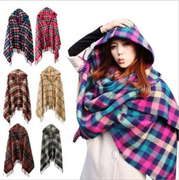 Wholesale Capes Shawls Ponchos For Women - Wholesale-2016 Autumn Winter Women Capes and Ponchos Thick Hooded Plaid Poncho for Women Knitted Cardigan Shawl Female Jumper Coat