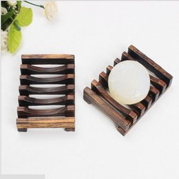 Wholesale Bathroom Shower Holder - Vintage Wooden Soap Dish Plate Tray Holder Box Case Shower Hand washing 10.8cm*8cm*2.4cm Bathroom Accessories