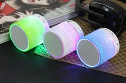 Wholesale Speaker Docking Bluetooth - Hotsale LED Mini portable crackle texture Bluetooth Speaker with LED light can insert U disc, mobile phone player with retail box