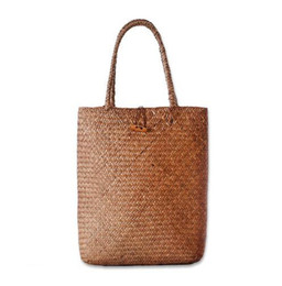 Wholesale Big Fashion Hand Bags - 2017 Beach Bag for Summer Big Straw Bags Handmade Woven Tote Women Travel Handbags Luxury Designer Shopping Hand Bags