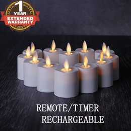 Wholesale 12 Led Rechargeable Candles - NONNO&ZGF Rechargeable Flameless Votives Moving Flame Wick LED Tealight Candles with Charging Base and Remote Control, Set of 12