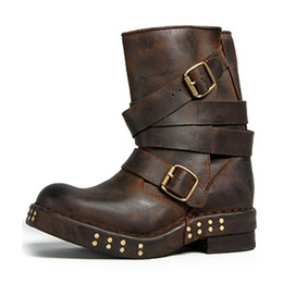 Wholesale Pig Large - Fashion Brand Designer Genuine Leather Retro Ladies Boots Whole Palm Pad Latex Flange Sole Cool Motorcycle Boots Large Size