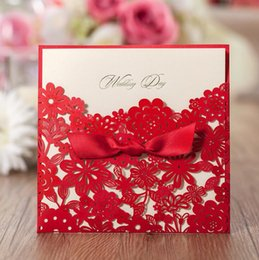 Wholesale Red Lace Wedding Invitations - Red Square Laser Cut Flower with Bowknot Lace Pocket Engagement Wedding Invitations Card 50PCS  LOT DHL free shipping