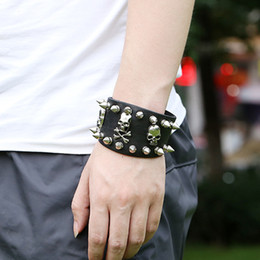 Wholesale Skull Spike Punk - Gothic Skeleton Skull Punk Leather Bracelet With Unique Design Rock Spikes Rivet Fashion Wide Cuff Bracelet for Men