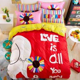Wholesale Rainbow Duvet - Rainbow Color Cartoon Style Full   Queen   King Size 100% Cotton Bedding Set for children