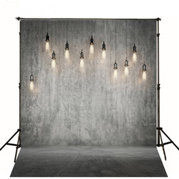Wholesale Prop Lights - Gray Solid Wall Backdrop Wedding Bright Hanging Light Bulbs Vintage Photography Backdrops Studio Photo Booth Wallpaper Prop